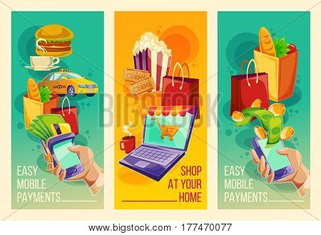 Three vector cartoon illustrations with devices for e-payments mobile phones, laptop. Vector vertical banners showing the ease and convenience of online payments