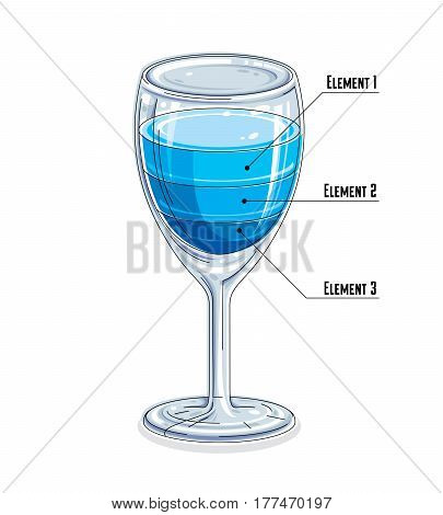 Creative Infographics Element, 3D Wineglass With Three Layered Liquid Idea, Cocktail, Vector Illustr