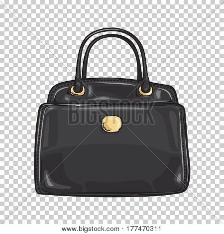 Black lady's bag close-up fashion accessory flat design web banner on transparent background. Trendy accessory of every woman. Vector illustration in cartoon style for infographics, websites and app.