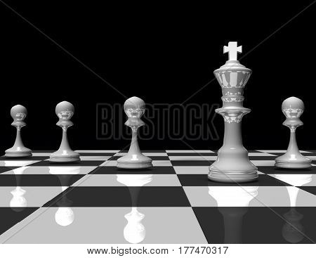 3d chess king and pawn. leader concept .rendered illustration