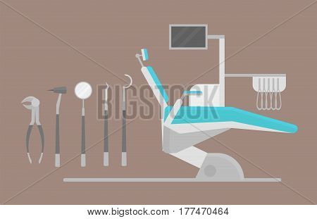 Flat health care dentist chair research medical healthcare concept and medicine instrument hygiene stomatology engineering vector illustration. Oral clinical enamel ambulance equipment.