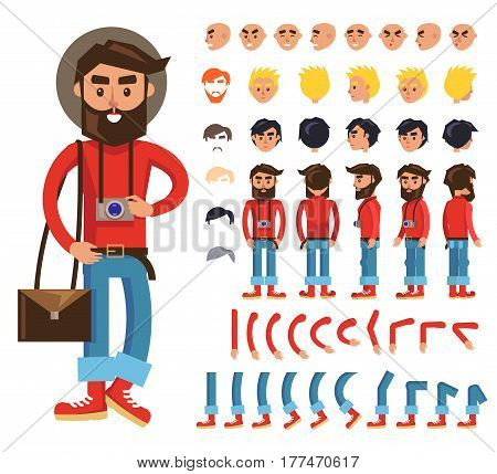Hipster cartoon character constructor with body parts, emotive heads, haircuts colors. Bearded man in retro clothes with camera on neck and bag over shoulder from different sides view isolated vector