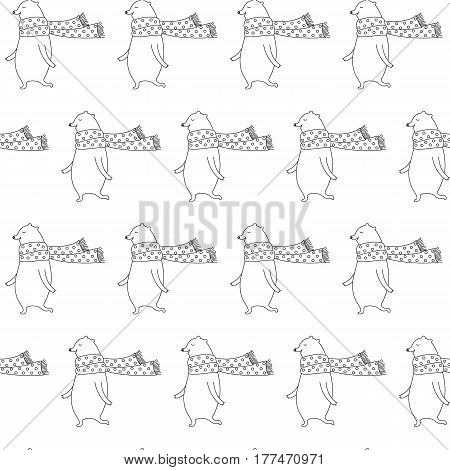 Cartoon linear bear pattern with sweet bear in scarf. Cute doodle black and white linear bear pattern. Seamless monochrome linear bear pattern for fabric, wallpapers, wrapping paper and cards.