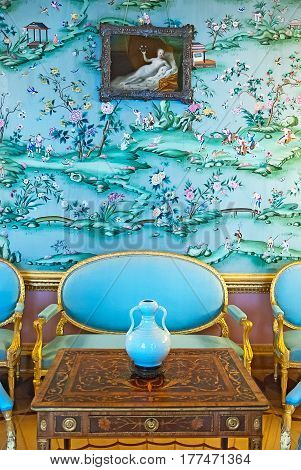 TSARSKOYE SELO, SAINT-PETERSBURG, RUSSIA -- FEBRUARY 14, 2016: The Chinese Blue Drawing Room in The Catherine Palace. The Tsarskoye Selo is The State Museum-Preserve
