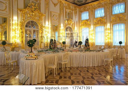 TSARSKOYE SELO, SAINT-PETERSBURG, RUSSIA -- FEBRUARY 14, 2016: The Second Antechamber with Sugar Parterre in The Catherine Palace. The Tsarskoye Selo is The State Museum-Preserve