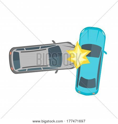 Cartoon Car Crash Road Accident Collision of Two Automobile Flat Design Style. Vector illustration