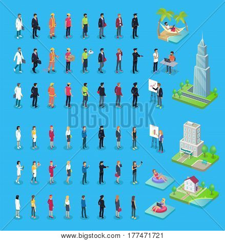 Male and female characters doctor, businessman in suit, firefighter in protective gear, delivery service, waiter with tray, policeman with gun. Skyscraper, city hospital and two-storied house vector