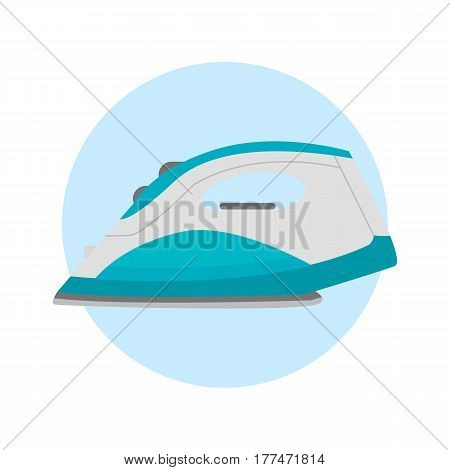 Iron housework ironed electric tool clean steam housekeeping tool and electric home appliance heat laundry object vector illustration. Textile service clothing dry press technology.