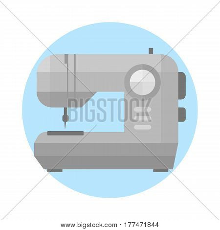 Sewing machine old vintage equipment design tool and thread craft needle fashion stitch textile manufacture clothes handmade industrial vector illustration. Dressmaker work household hobby.