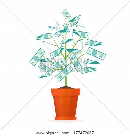 Tree Money in a Pot. Business Success and Profit Concept. Vector illustration