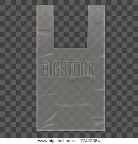 Disposable Plastic Bag Package with Handles on Transparent Background. Empty Design Mock Up Vector illustration