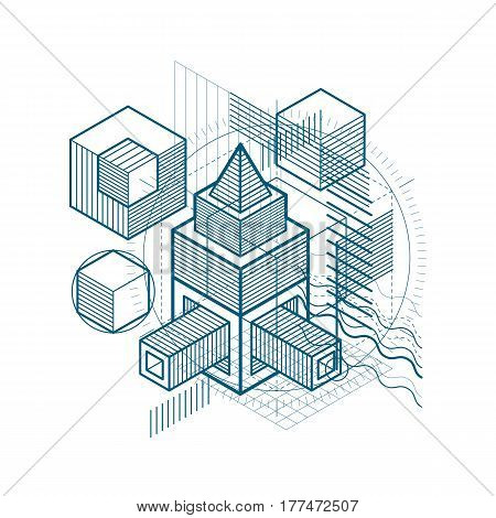 Lines And Shapes Abstract Vector Isometric 3D Background. Layout Of Cubes, Hexagons, Squares, Rectan