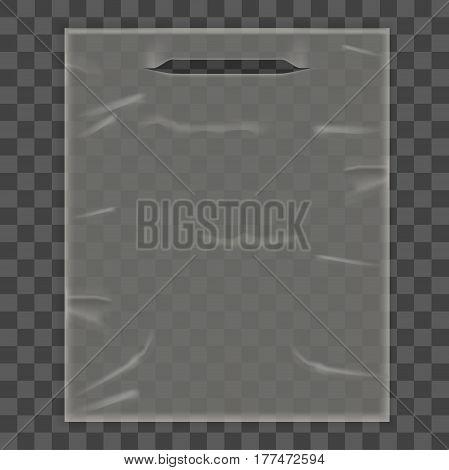 Disposable Plastic Bag Package Square on Transparent Background. Empty Design Mock Up Vector illustration