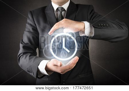 Businessman and Time to save concept high quality and high resolution studio shoot