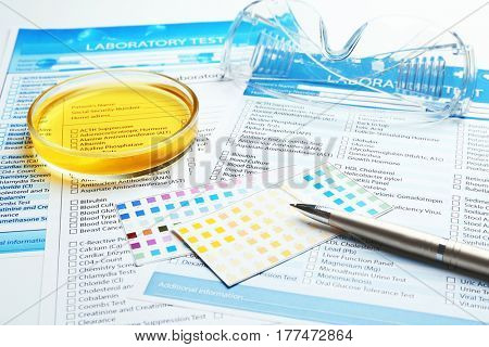 Medical equipment and laboratory test forms. Urology concept