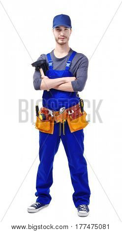 Young plumber holding plunger on white background