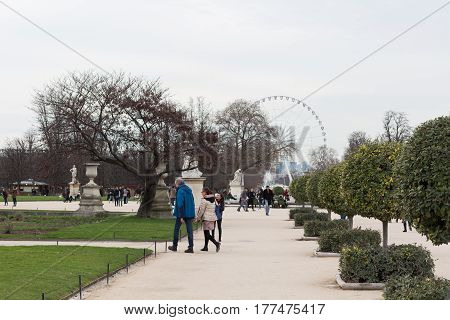 Paris, France - March 03, 2017: Tuileries park, Ferris whell, the cloudy sky background