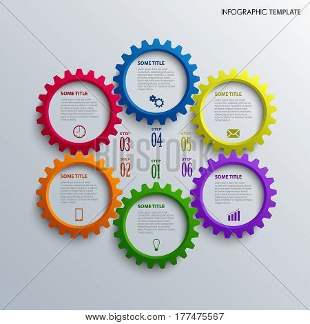 Info graphic with colorful design cogwheel template vector eps 10