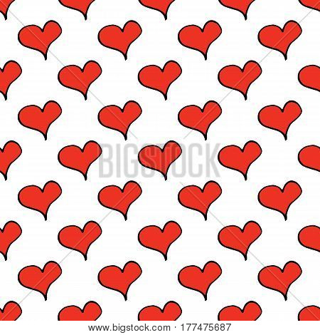 Abstract heart pattern with hand drawn hearts. Cute vector red heart pattern. Trendy cheerful doodle heart pattern for fabric, wallpapers, wrapping paper, cards and web backgrounds.