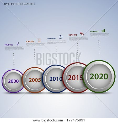 Time line info graphic with round labels in a row vector eps 10