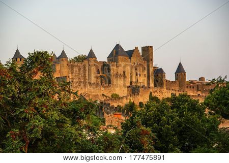 Image of an old town in Carcassonne, South France