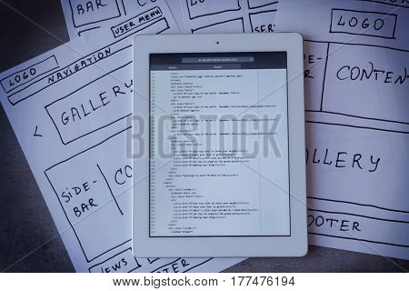Tablet with programming code for website on table