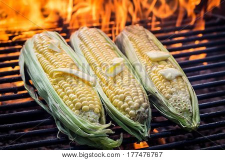 Fresh Corncob On Grill With Butter And Salt