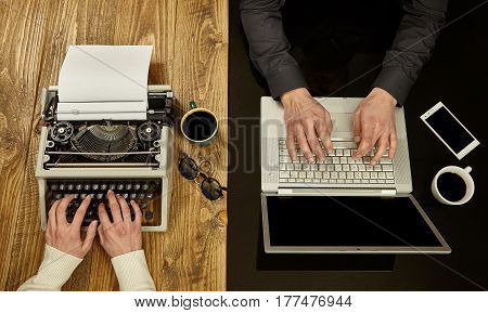 Woman writing on a typewriter and a man working on a laptop.Closeup to hands.Technological evolution.