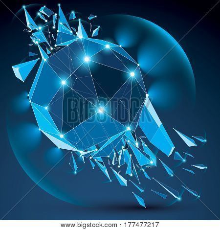 Vector dimensional wireframe blue sparkling object with radiance circles demolished shape with particles and wreckage. 3d white lines mesh element broken into pieces. Digital technology art.