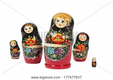 Russian nesting doll on white background. bright matreshka