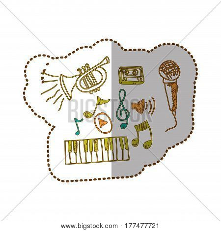 music instrument with notes musicals icon, vector illustration