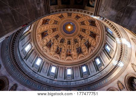 COPENHAGEN DENMARK - MARCH 11 2017: Dome interior of the Marble Church (Marmokirken) in Copenhagen Denmark also known as Frederik's church (Frederiks Kirke) famous for its rococo architecture
