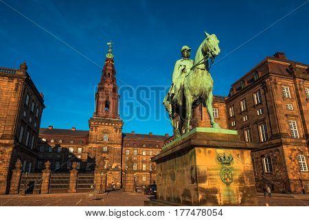 COPENHAGEN DENMARK - MARCH 11 2017: Equestrian statue of King Christian the 9th Copenhagen Denmark Inside the Danish Parliament Christiansborg palace