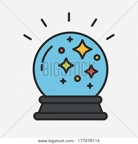 Magic fortune telling crystal ball vector illustration