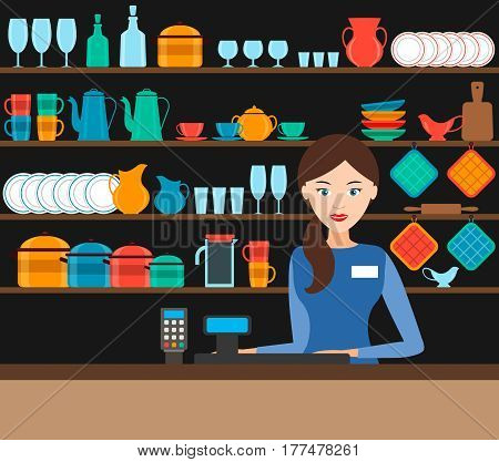 the girl-seller in the shop with the dishes. vector illustration. shelves with dishes. flat.