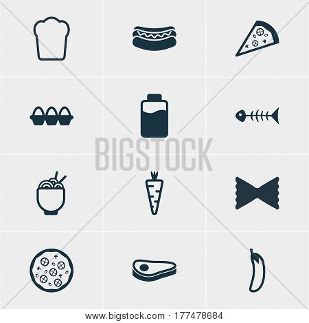 Vector Illustration Of 12 Food Icons. Editable Pack Of Veggie, Beef steak, Egg Container And Other Elements.