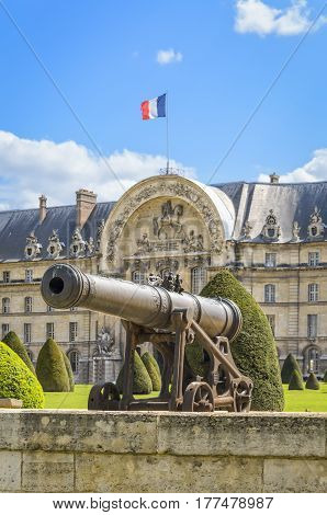 Paris France - April 18 2013: Artillery cannons at Les Invalides in Paris France