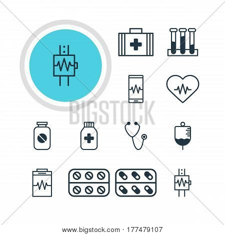 Vector Illustration Of 12 Medicine Icons. Editable Pack Of Pulse, Medical Bag, Experiment Flask And Other Elements.