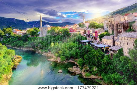 Sunrise Over Mostar Old Town, Bosnia And Herzegovina