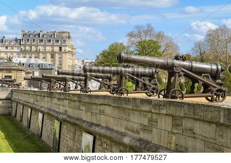 Paris France - April 18 2013: Artillery cannons at Les Invalides