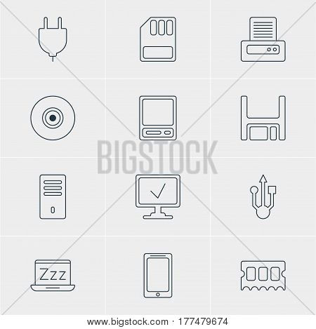 Vector Illustration Of 12 Laptop Icons. Editable Pack Of Socket, Smartphone, Mainframe And Other Elements.