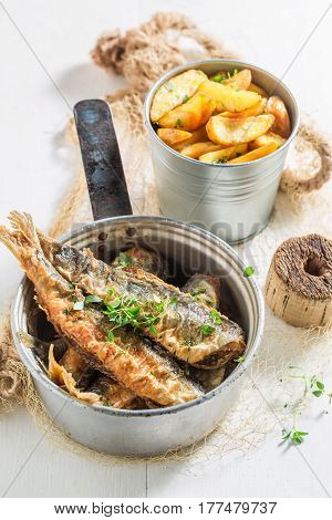 Tasty Roasted Herring Fish With Salt And Herbs