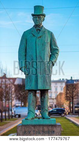 COPENHAGEN DENMARK - MARCH 11 2017: Statue of Tietgen at Sankt Annae Plads in Copenhagen. Carl Frederik Tietgen (19 March 1829 - 19 October 1901) was a Danish financier and industrialist.