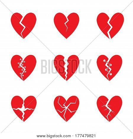Broken Red heart icon set. Tragedy, drama concept