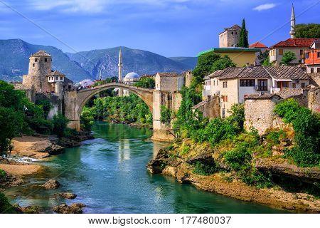 Old Bridge Stari Most In Mostar, Bosnia And Herzegovina