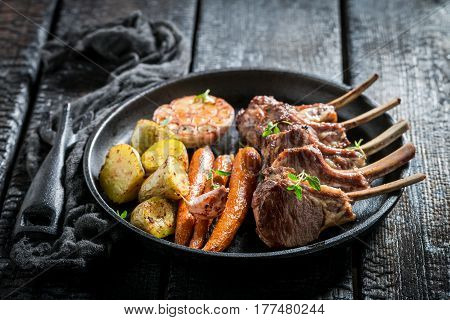 Delicious Roasted Lamb Ribs With Thyme And Spices