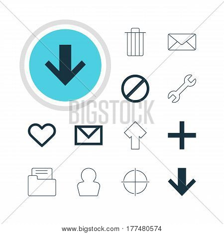 Vector Illustration Of 12 Interface Icons. Editable Pack Of Garbage, Wrench, Upward And Other Elements.