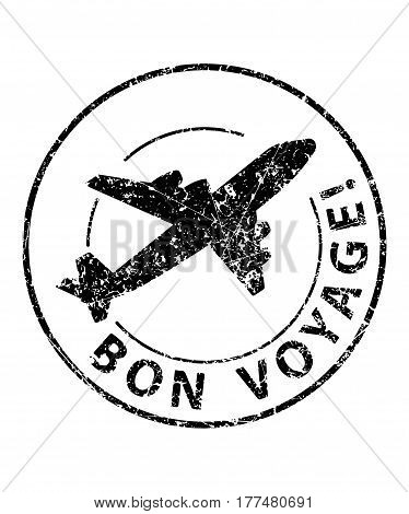 Bon Voyage Black Rubber Stamp With Silhouette Of Airplane