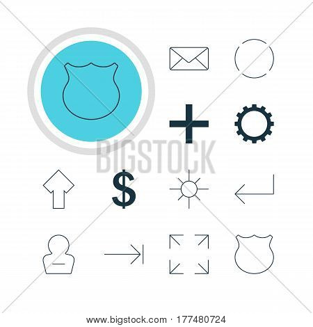 Vector Illustration Of 12 Member Icons. Editable Pack Of Sunshine, Wide Monitor, Cogwheel And Other Elements.