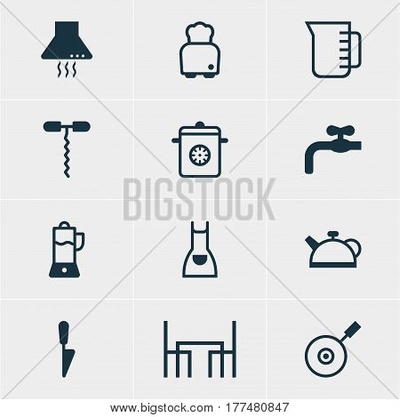 Vector Illustration Of 12 Kitchenware Icons. Editable Pack Of Dinner Table, Kitchen Dagger, Teakettle And Other Elements.
